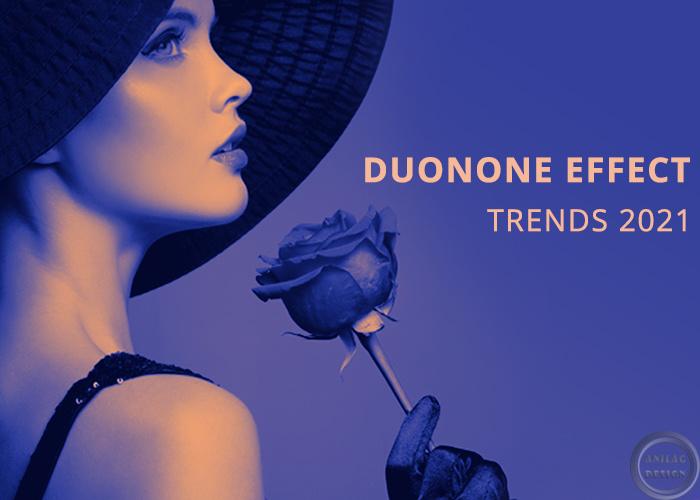 Рассказ с примерами о трендах дизайна в социальных сетях 2021 года. Duoton effect.